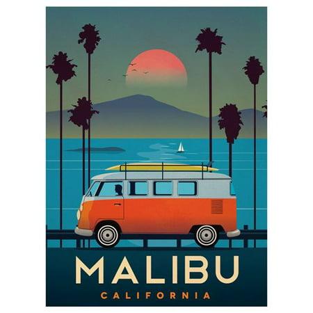 Vintage Art MALIBU VW Bus STICKER (surf california ca (Surf Car Sticker)