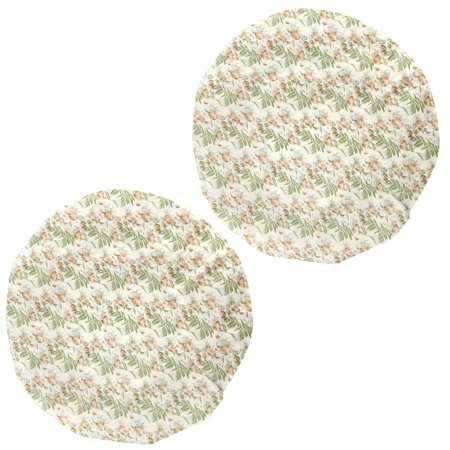 2 Pcs Floral Print Waterproof Plastic Shower Caps Hat for Women ()
