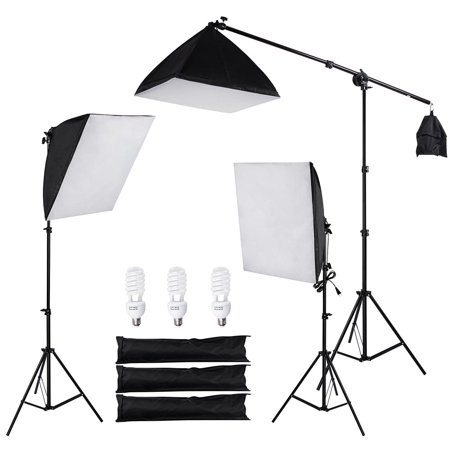 "3x 22"" Photography Softbox Video Boom Arm Lighting Kit Photo Studio Camera Shooting with 3 x Tripod Stands"