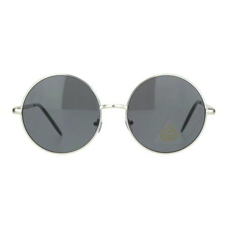 fc1e6ade3 SA106 - Hippie Round Circle Clear Lens Metal Rim Pimpy Sunglasses Silver  Black - Walmart.com