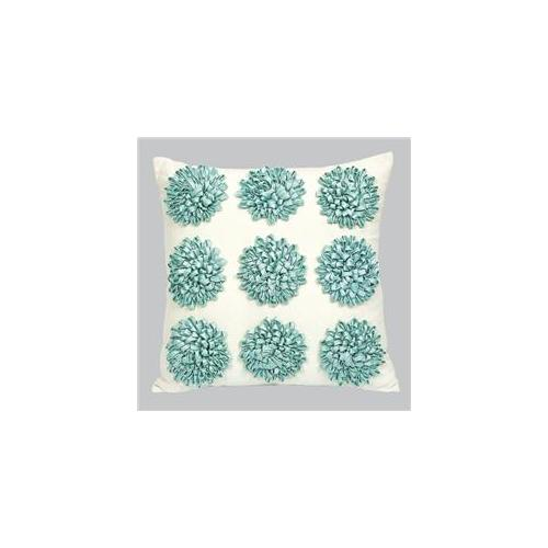 Jubilee Collection P402 Pillow - 9 Dahlias - Turquoise Flowers
