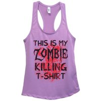 "Womens Basic Tank Top ""This is my Zombie Killing Shirt"" Walking Dead Shirt Gift Small, Sky Blue"