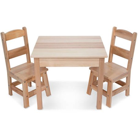 - Melissa & Doug Solid Wood Kids Table and 2 Chairs Set, Multiple Colors