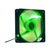 Apevia CF12SL-TGN 120mm Green LED Fan with 3-pin & 4-pin Connectors and Black Grill