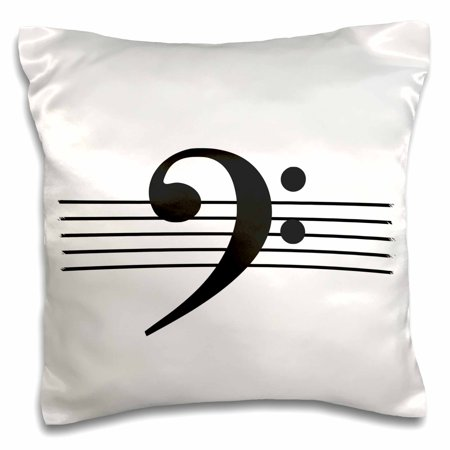 3dRose Bass clef F-clef on musical staves staff black and white music gift - Pillow Case, 16 by - Black And White Musical