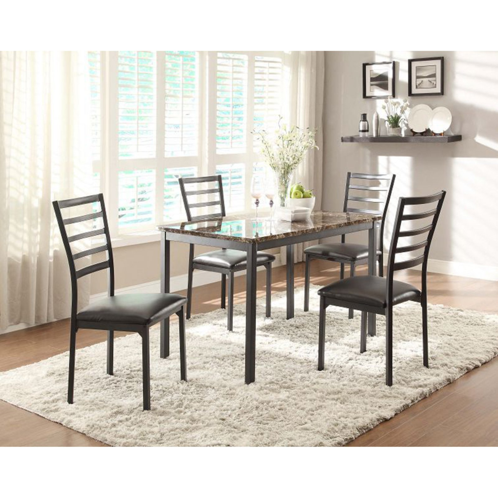 Chelsea Lane Hamilton Faux Marble Top Metal Dining Table