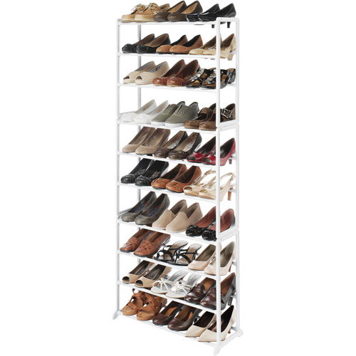 Whitmor 10 Tier 30 Pair Floor Shoe Tower White