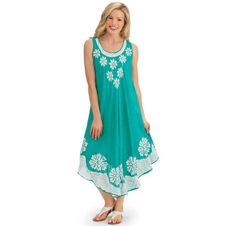 Women's Scoop Neck Floral Print Flowy Sleeveless Summer Dress with Batik Trim, X-Large/Xx-Larg, Mint](Casual Flowy Dresses)