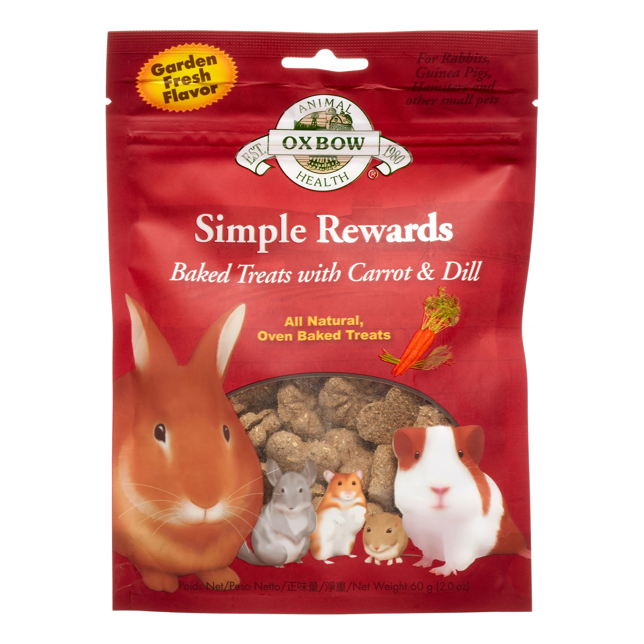 Oxbow Simple Rewards Baked with Carrot & Dill Small Animal Treats, 2 Oz