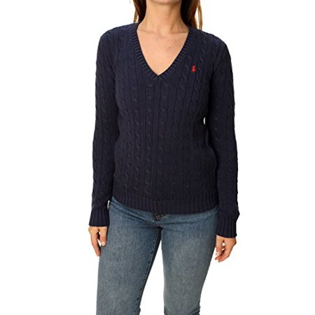 Ralph Lauren Sport Women V-neck Cable Sweater (L, French navy)