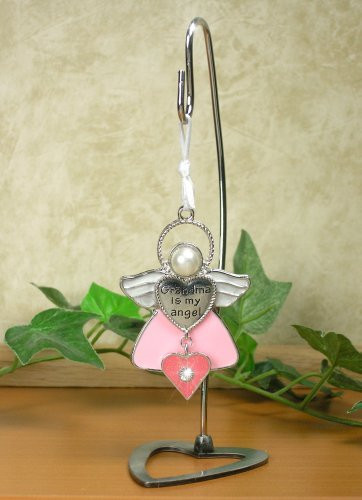 Pink Angel Ornament with Heart Charm Stand NOT Included