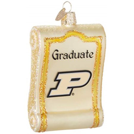 Old World Christmas Purdue Diploma Glass Blown Ornament ()