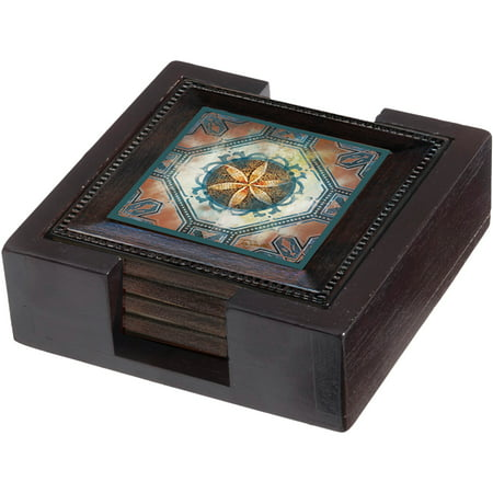 Thirstystone Ambiance Wood Holder for Square Drink Coasters, Dark (Ambiance Coaster Set)