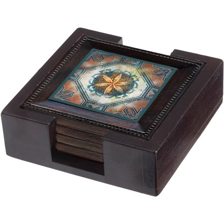 Thirstystone Ambiance Wood Holder for Square Drink Coasters, Dark Walnut