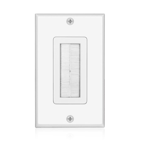 Brush Wall Plate - Single Gang Cable Entry Access Brush Bristles Style Strap Opening Port Insert Socket Wiring Plug Jack Decorative Face Cover Outlet Mount Panel (White)