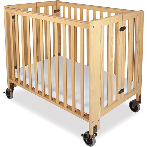 Foundations Hideaway Portable Crib with Mattress Natural