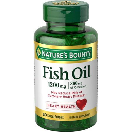 (2 pack) Nature's Bounty Fish Oil Omega-3 Softgels, 1200 Mg, 60 Ct