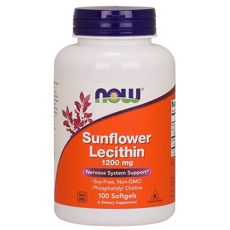 NOW Supplements, Sunflower Lecithin 1200 mg with Phosphatidyl Choline, 100 Softgels