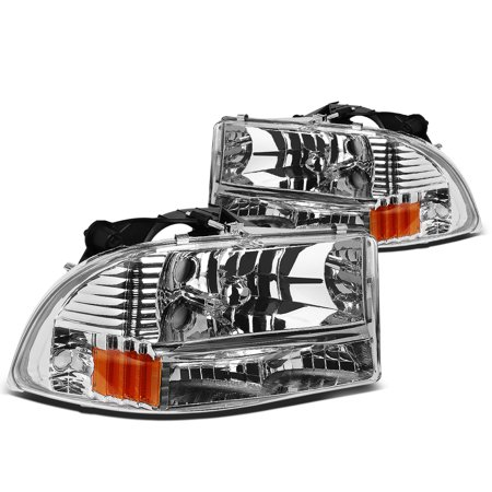 For 1997 to 2004 Dodge Dakota / Durango Bumper Corner Headlight Chrome Housing Amber Reflector Headlamp 98 99 00 01 02 03 - Dodge Dakota Passengers Side Corner