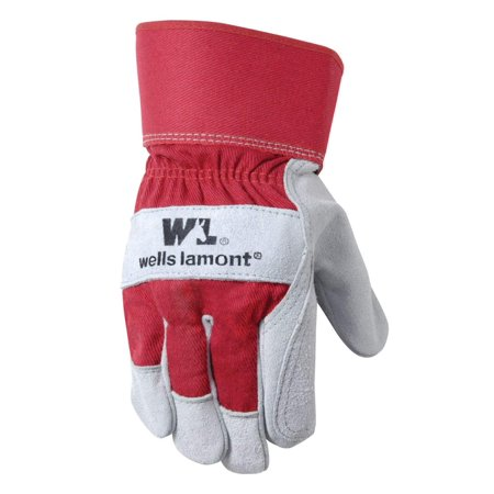 Leather Work Gloves with Safety Cuff, Double Palm, Split Cowhide, One Size (4050), Leather: 100% Cowhide; Fabric: 50% Cotton, 27% Polyester, 15%.., By Wells Lamont