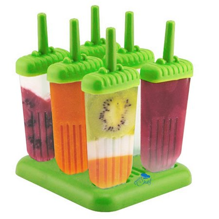 Popsicle Ice Pop Maker Molds 6 Pack Green BPA Free Ice Cream Popscicles Mold Ice Pops Holders Popsicle Makers For Kids -