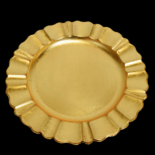 Gold Heavy Duty Charger Plate with Fluted Edge (13 Inch)