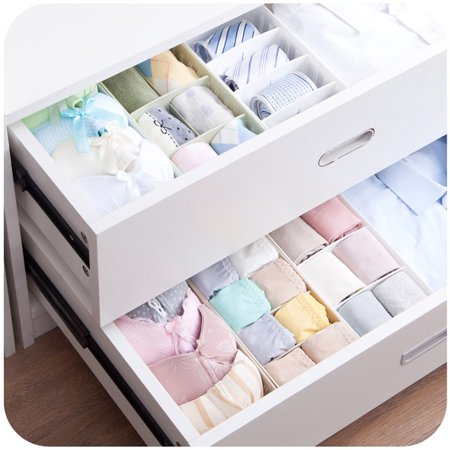 4 Pcs Drawer Organizer Adjustable Drawer Divider Cabinet Storage Pantry Organizer Plastic Storage Organizer Box with Removable Dividers Jewelry Earring Tool Containers Double Rows White