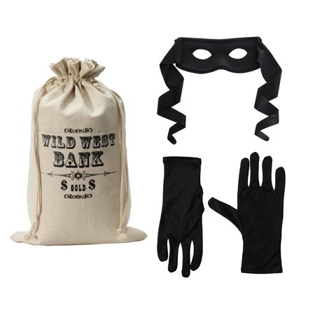 Bank Robber Halloween (Wild West Bank Robber Money Bag Bandit Mask and Black Gloves Outlaw Costume)