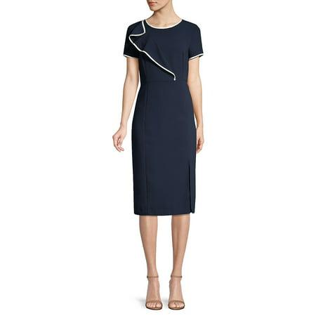 Textured Piping Ruffle Knit Sheath Dress ()