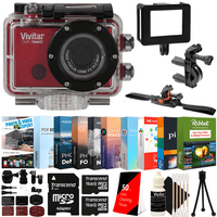 Vivitar DVR794HD 1080P Video Action Camera Camcorder with 120-degree View 5MP Shots and Bundle Red