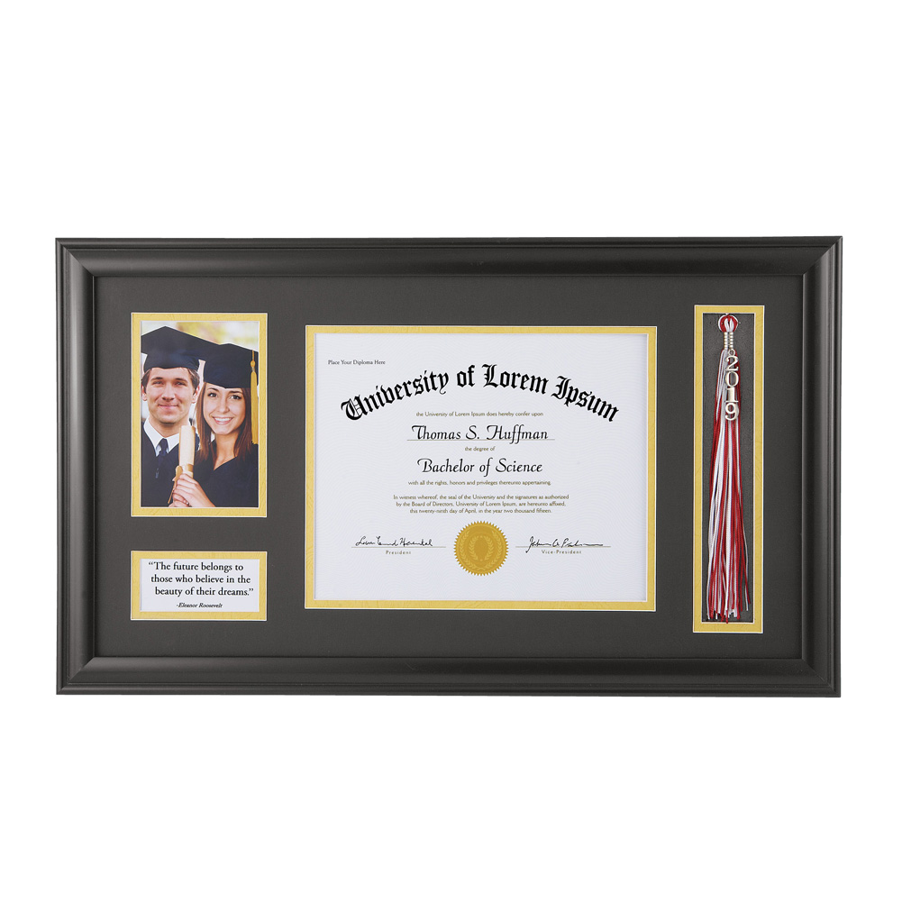 Graduation Photo and Diploma Keepsake Frame, Black