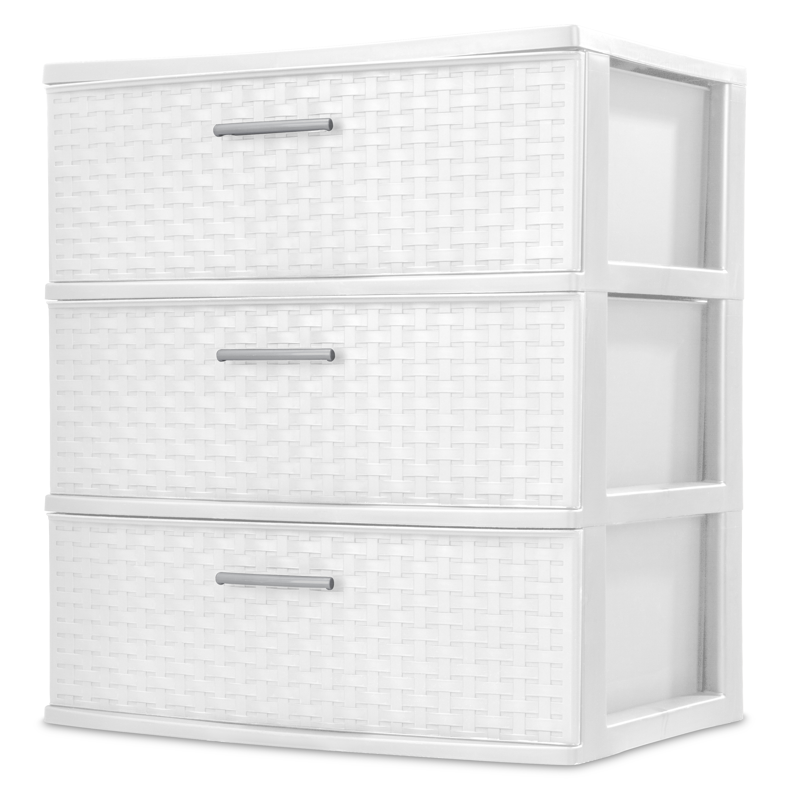 Sterilite 3 Drawer Wide Weave Tower, White