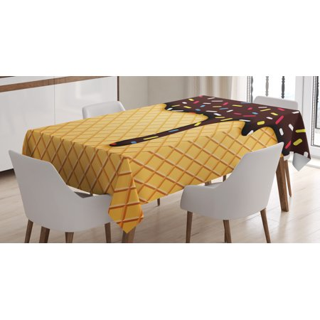 Ice Cream Table (Ice Cream Decor Tablecloth, Waffle Chocolate Flavor Dessert Delicious Backdrop Stylish Graphic, Rectangular Table Cover for Dining Room Kitchen, 60 X 84 Inches, Dark Brown Mustard, by)