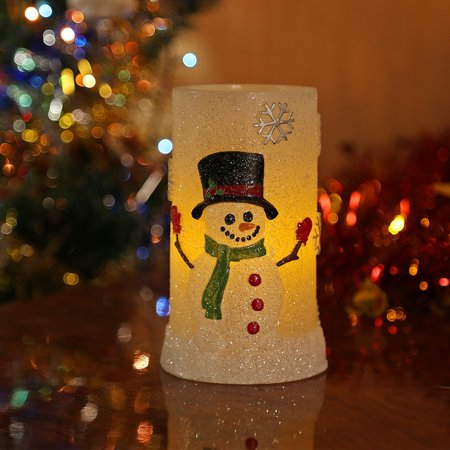 Snowman Flameless LED Candles with Timer, Battery Operated Candles
