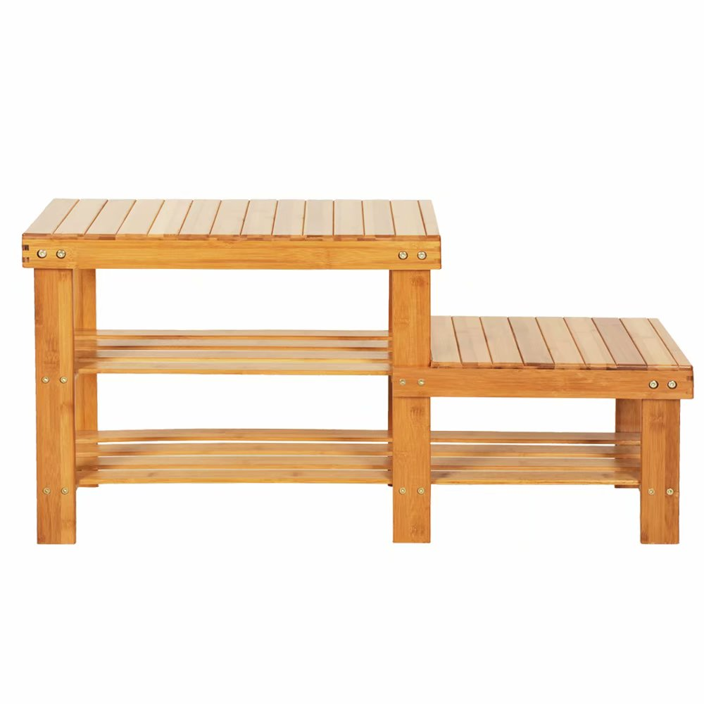 90cm Strip Pattern Tiers Bamboo Stool Shoe Rack for Kids Wood Color