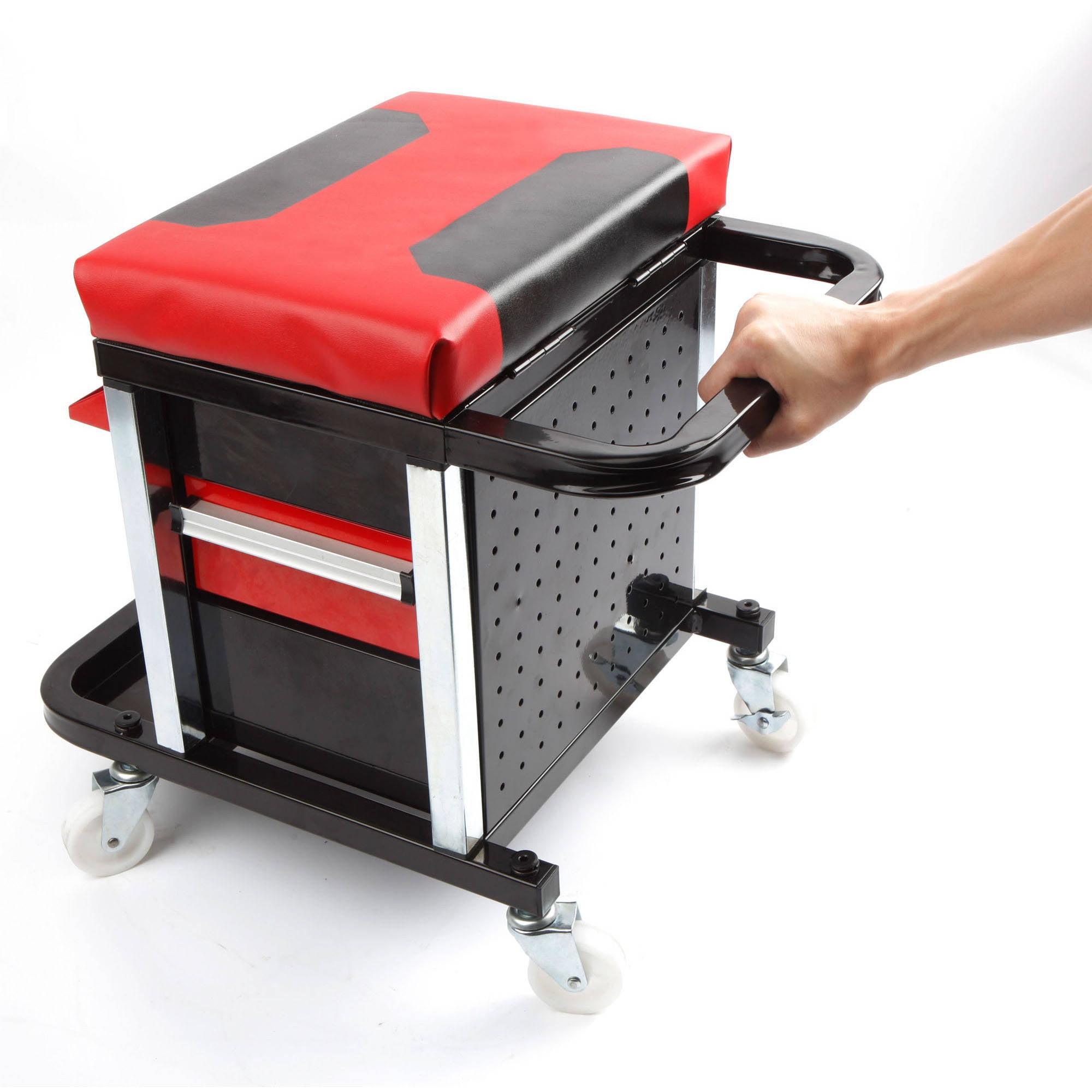 Mechanic Rolling Creeper 2 Drawer Seat Tool Box Chair