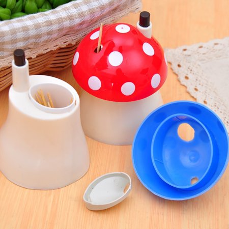 (Micelec Lovely Mushroom Home Restaurant Automatic Toothpick Holder Dispenser Plastic Box)