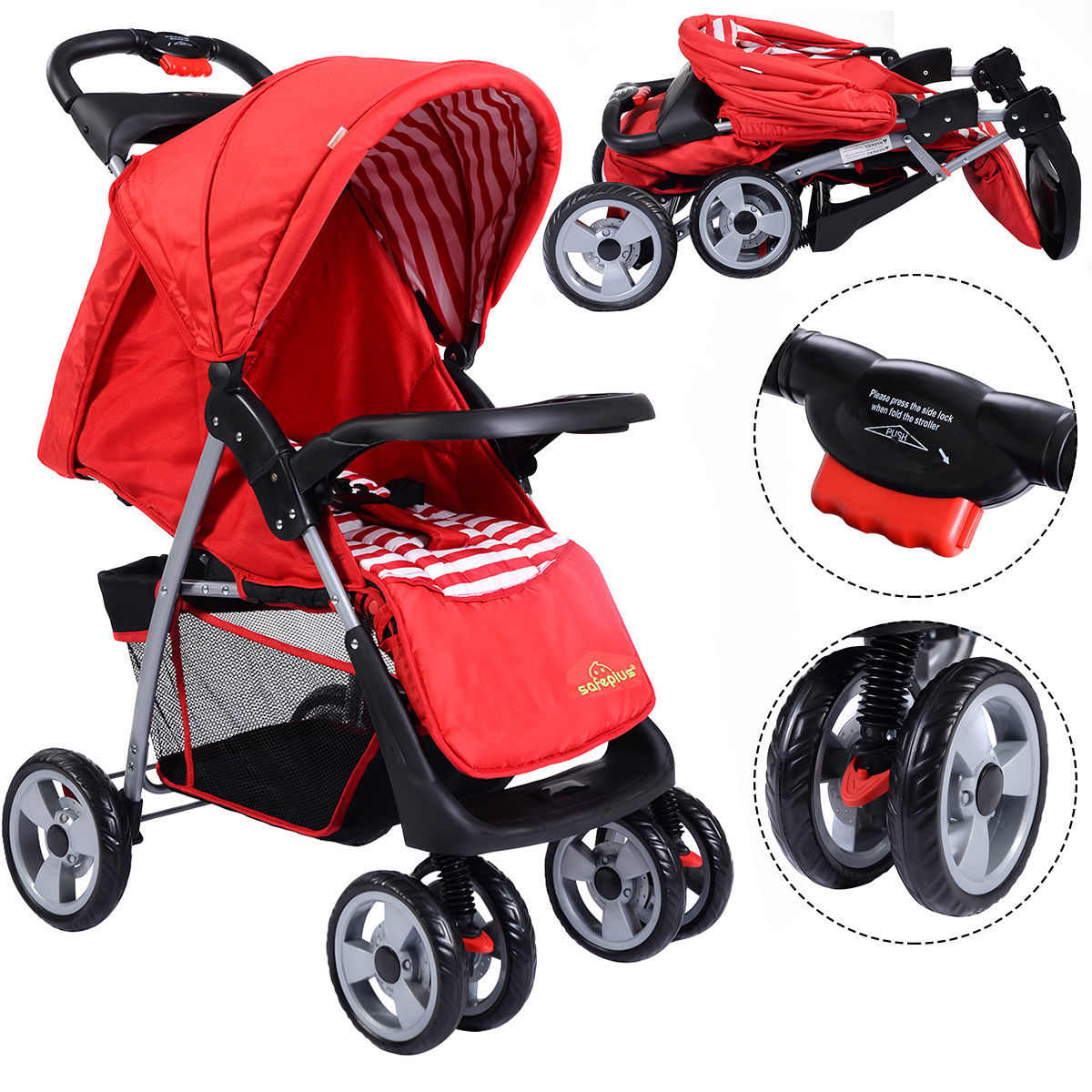 Costway Foldable Baby Kids Travel Stroller Newborn Infant Buggy Pushchair Child Red