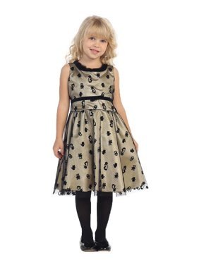 Little Girls Gold Black Animal Print Party Dress 5