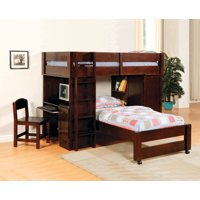 Furniture Of America Harford All In One Twin Over Twin Loft Bed In Dark Cherry