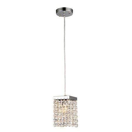 Jehra 1-light Square-shaped Crystal 6-inch Chrome Chandelier Monroe Square Chandelier