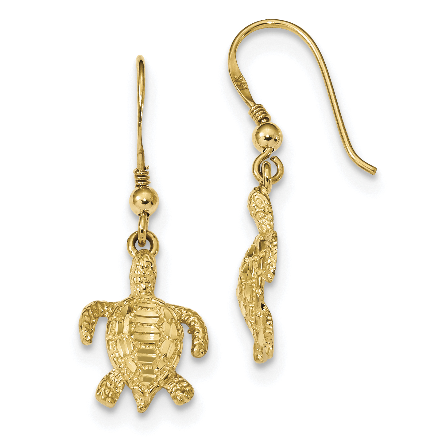 ICE CARATS 14kt Yellow Gold Textured Turtle Shepherd Hook Drop Dangle Chandelier Earrings Animal Reptile Fine Jewelry Ideal Gifts For Women Gift Set From Heart