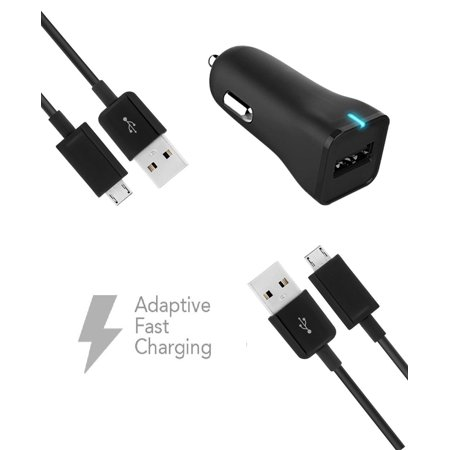 ZTE Kis 3 Max Charger  Micro USB 2.0 Cable Kit by Ixir - (Car Charger + Cable) True Digital Adaptive Fast Charging uses dual voltages for up to 50% faster charging!