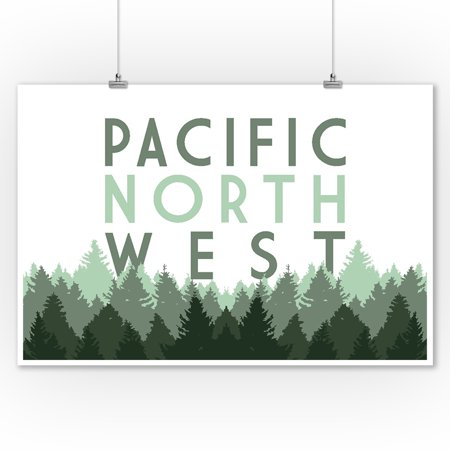 Pacific Northwest - Pine Trees - Lantern Press Artwork (9x12 Art Print, Wall Decor Travel (Best Fruit Trees For Pacific Northwest)