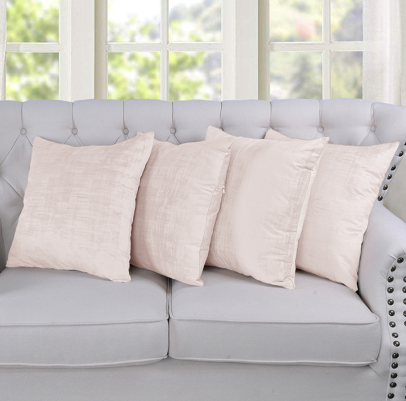 Serenta Textured Velvet 4 Piece Pillow Shell Set