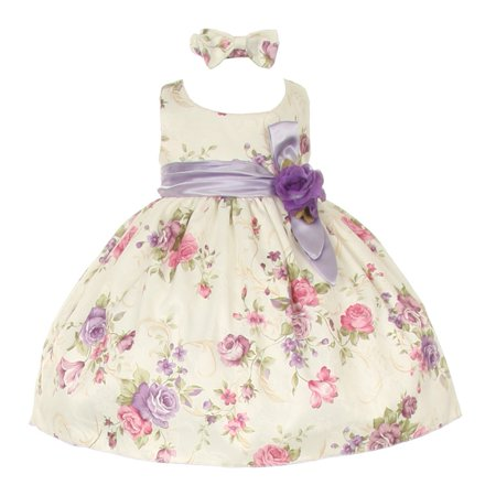 Baby Girls Lilac Floral Printed Jacquard Sash Hair Bow Dress