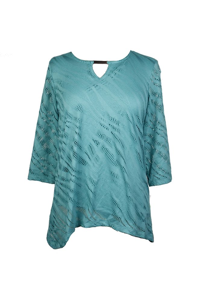 Jm Collection Petite Mermaid Green Perforated Keyhole Top  PM