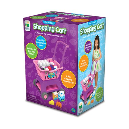 Play and Learn Shopping Cart Get your kids engaged in imaginative play with the Play and Learn Shopping Cart. It features lightweight plastic construction and big wheels for easy pushing. The fun accessories include a variety of plastic and cardboard food items. It is designed for children ages 3 and up. With this toy shopping cart, kids can build confidence and learn different social skills. The cart provides hours of indoor and outdoor fun.