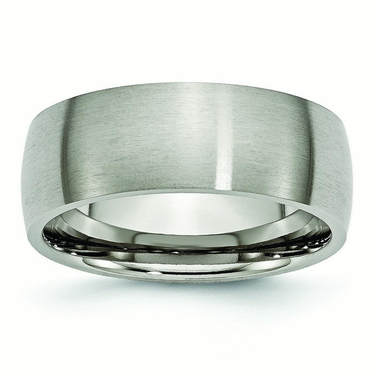 Mens Titanium 8mm Brushed Wedding Band Ring Size 12