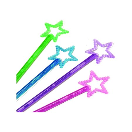 Magic Fairy Glitter Star Wand Princess Assorted Color 12 Pack Costume Accessory](Cinderella Fairy Godmother Wand)